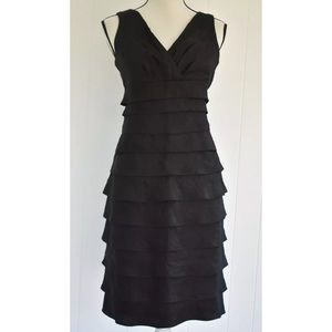 London Times Tiered Cocktail Dress Black Sz 10
